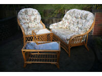 conservatory furniture, 4 pieces (2 seater, chair, 2 tables with glas top)