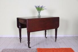 RUSTIC ANTIQUE MAHOGANY DROP LEAF SIDE TABLE WITH 2 DRAWERS ON EACH END - CAN COURIER