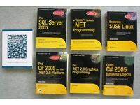 7 Computer Text Books including .NET, C#, SUSE Linux, SQL Server and Java