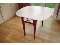 Shabby Chic Cream & Deep Red Folding Kitchen Table. Seats up to 4.