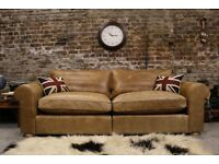 Quality Michael Tyler/John Lewis Designer Distressed Leather 4 Seater Sofa