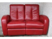 Red Leather 2 Seater Reclining Sofa