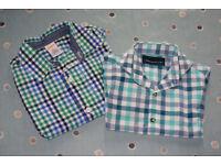 Gymboree & Next Boys Green & Blue Check Long Sleeve Shirts, Age 3 Years.