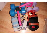 Mixed Lot Exercise/Training/Gym Accessories-Weights, Hand Weights, Push-Up Pads, Skipping Rope, Etc