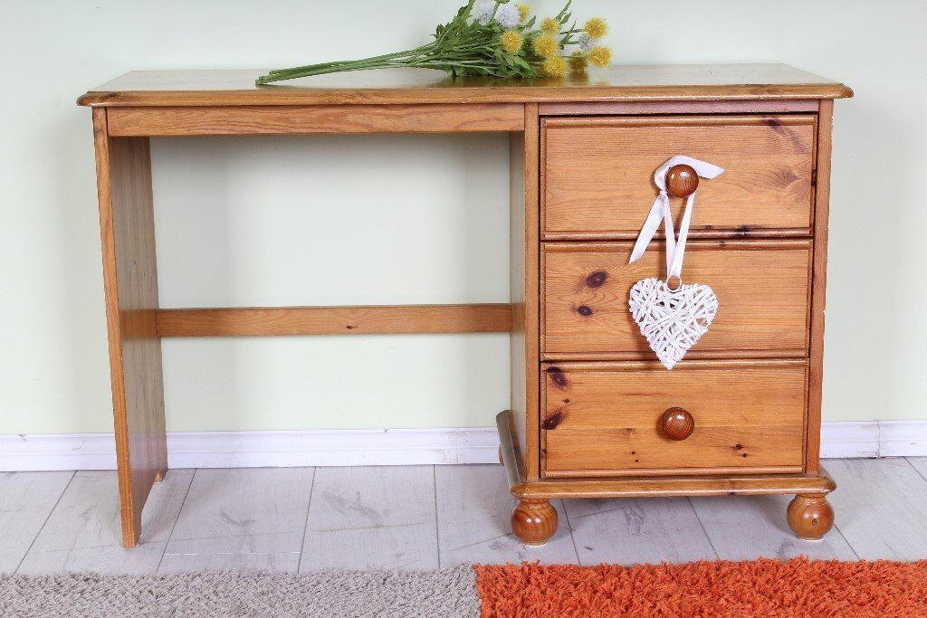 DELIVERY OPTIONS - SMALL DRESSING TABLE PINE 3 DRAWERS POSS CHILD ROOM, BUN FEET