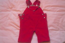Baby Boden Red Corduroy Dungarees 3-6 months