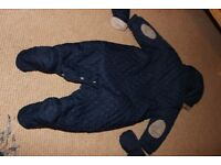 Next navy, quilted baby pramsuit. 3-6mths, Excellent condition