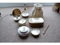 LISSCO 1960s DRESSING TABLE SET ACCESSORIES, 7 ITEMS, LAMP, MIRROR, BOWLS, JEWELLERY BOX, ETC