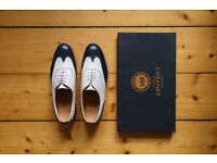 joseph cheaney's maisie brogues in navy and off-white leather - size 5.5