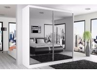 BLACK AND WHITE FINISH : BRAND NEW BERLIN 2 DOOR SLIDING WARDROBE WITH FULL MIRROR -EXPRESS DELIVERY