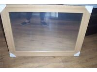 large oak colour mirror 32in x25in app dunelm store bnip with fitings.