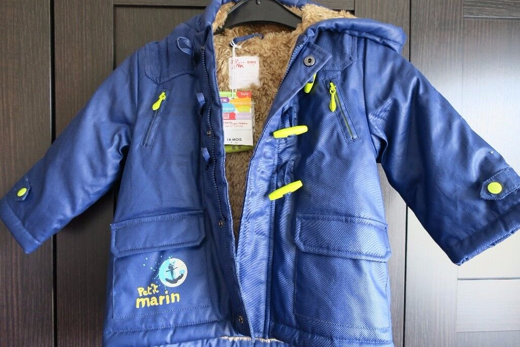 Petit Marin Boy winter Jacket, blue with faux fur lining, 18 Month