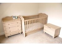 Adjustable Height Cot and Toddler Bed with Matching Furniture Suite