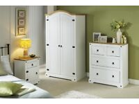 Brand New Last Minute DEAL Monterrey Stylish Solid Pine 2-Piece Storage Wardrobe + Chest Set