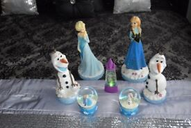 Disney Frozen pot figures, snow globes, 3d puzzle & lamp and shade