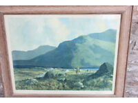 "Large Framed Vintage Print - 64x52cm ""Connemara ""Joyces Country"" by J. H. Craig RHA Irish Ireland"