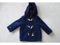 John Lewis boys navy duffle coat 9-12months