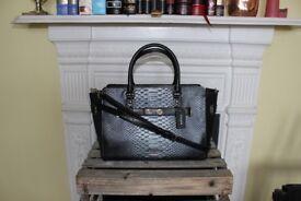 NEW Coach Metallic Exotic Black Leather Suede Blake Carryall Bag Crossbody Handbag Shoulder Croc