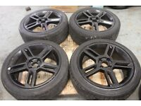 "Five spoke 17"" 4x100 alloy wheels + tyres vauxhall renault mg vw honda toyota"
