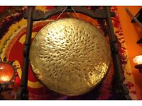 Large Tibetan Yoga Temple Therapy Chakra Meditation Handmade Gong from Nepal 49 cm 7,5kg