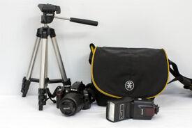 NIKON D3000 CAMERA, TRIPOD, FLASH AND BAG