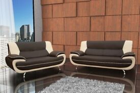PICK ANY COLOUR NOW -- BRAND NEW CAROL FAUX LEATHER 3 +2 SEATER SOFA !5 NEW DIFFERENT COLOURS!