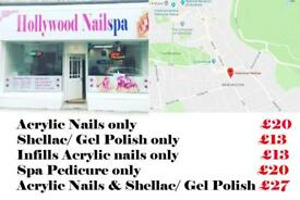 Special Offer £5 Off Acrylic Nails Shellac gel Polish Manicure Spa Pedicure