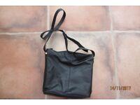 Marks & Spencer black LEATHER handbag with zip, adjustable strap & magnetic fasten