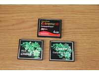 compact flash memory cards x3
