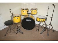 Mapex V Series Yellow 5 Piece Complete Drum Kit with Sabian Solar Cymbal Set