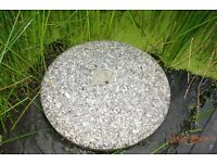 Ornamental circular polished granite stone - garden/pond feature (see additional photos)