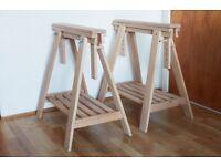 Pair of Ikea Wood Trestles - Finnvard