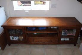 RRP £1400, 6 FOOT WIDE SOLID WAXED PINE HOLLYWOOD TV CABINET. SIMPLY NO ROOM AFTER DOWNSIZING.