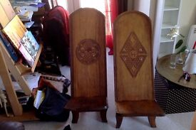 2 authentic carved wooden MADAGASCAR chairs - ADULT SIZE