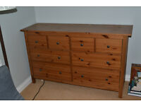 Solid Pine 8 drawer chest Stained & clear lacquered