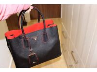 Prada Double Tote Bag with Red Interior brand new real leather