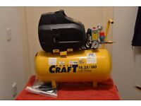 craft air compressor brand new with tools and air hose reel