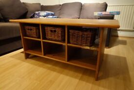 Vintage Solid-wood Coffee Table with 3 baskets, Clear-Out!