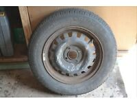 Steel rim wheel and tyre