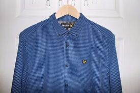 Lyle and Scott Checked Shirt (Blue, Large) (READ DISCRIPTION)