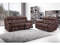 ***VANCOUVER BROWN FREE DELIVERY BRAND NEW LEATHER RECLINER SOFAS***