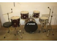 Sonor Force 507 Wine Red 5 Piece Full Drum Kit (20in Bass) + All Hardware + Sabian Cymbal Set