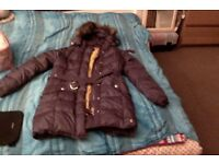 Purple full-length Joules coat - hardly worn