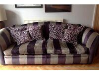 Big Purple & Sliver Sofa with Footstool