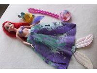 "Disney Princess The Little Mermaid ARIEL 12"" doll + accs + Flounder bath toy + locket necklace"