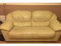 Leather sofa and chair creme