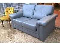 *FREE DELIVERY* Modern Style Grey Leather Klaussner 2 Seater Sofa (dfs dwell habitat shabby chic)