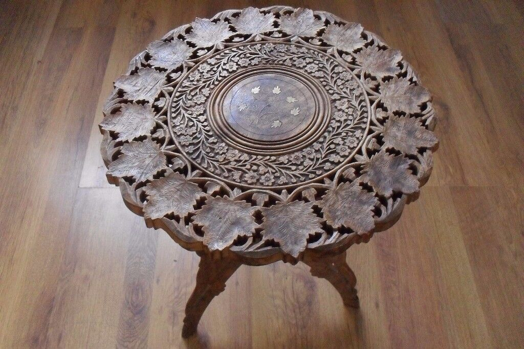 Small Vintage Table. Hand Carved Indian ROSEWOOD with brass inlay. SHABBY CHIC? Project?