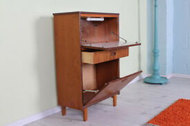 RETRO 1950 s DRINKS CABINET VINTAGE TEAK, SOLID WOOD - CAN COURIER -
