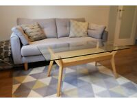 John Lewis glass topped, timber framed Coffee Table